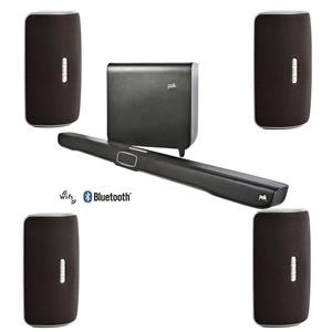 Polk Audio Omni SB1 Plus 2.1-Channel Sound Bar with Wireless Subwoofer (Black) + 4x Omni S2 Wireless Speaker