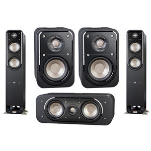 Polk Audio Signature S10 American HiFi Home Theater Compact Satellite Surround Speaker - Open Box + Polk Audio Signature Series S30 Center Speaker + Polk Audio Signature Series 2-Pack S55 Tower Speaker
