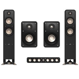 Polk Audio Signature S15 American HiFi Home Theater Compact Bookshelf Speaker (Pair) + Polk Audio Signature Center Speaker + 2X Polk Audio S55 Tower Speaker