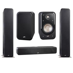 Polk Audio S20 Large Home Theater Bookshelf Speaker (Pair) + Polk Audio S30 Home Theater Center Speaker + 2-Pack Polk Audio S60 Home Theater Tower Speaker