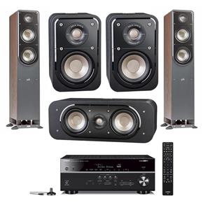 2-Pack Polk S50 Small 2-Way Home Theater Tower Speaker + Center Speaker + Surround Speakers, Pair + AV Receiver