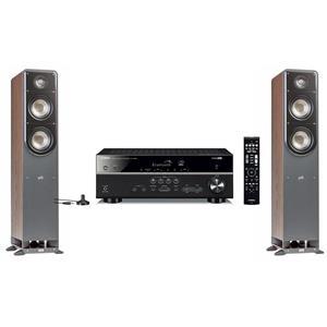 2-Pack Polk S50 Small 2-Way Home Theater Tower Speaker + Yamaha Black 5.1 Channel AV Receiver