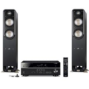 Yamaha RX-V485 5.1 Channel A/V Home Theater Receiver (Black) + 2x Polk Audio S55 Tower Speaker