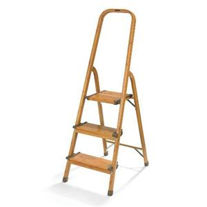 Polder 3 Step Aluminum Ultralight Ladder Woodgrain Color