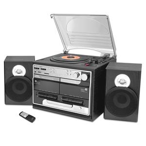 Pyle PTTCSM70BT Retro Vintage Bluetooth Wireless Streaming Turntable & Speaker System