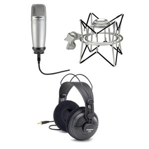 Samson Condenser Microphone + Shock Mount + Studio Headphones