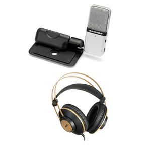 Samson Go Mic Portable USB Condenser Microphone for Mac and PC Computers (Silver) + AKG Acoustics K92 Closed-Back Over-Ear Studio Headphones
