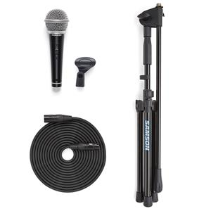 Samson VP10X Microphone Value Pack with Handheld Microphone, Stand, 18' XLR Cable & Mic Clip