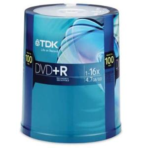 100-Pack TDK 48521 4.7GB 16X DVD+R Spindle Disc