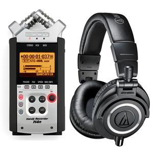 Zoom H4NSP Handy Mobile 4-Track Recorder + Audio-Technica ATH-M40x Pro Headphone