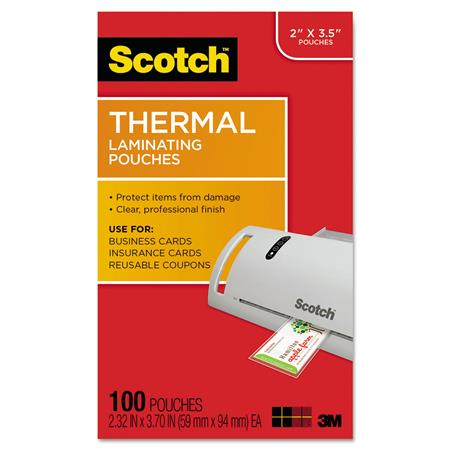 Scotch Self-Sealing Laminating Pouches Business Card Size 2 Inches x 3.5 Inche