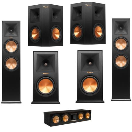 klipsch rc 64 ii center speaker single black with complete speaker bundle. Black Bedroom Furniture Sets. Home Design Ideas