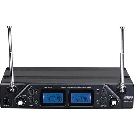 Audio 2000s AWM6502U Professional 100 Adjustable Frequencies Dual-Channel  UHF Handheld Wireless Microphone System, Includes AWR6502U Receiver and 2x