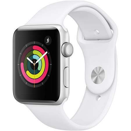 promo code f3b7f fde25 Apple Watch Series 3, GPS, 42mm, Silver Aluminum Case, White Sport Band