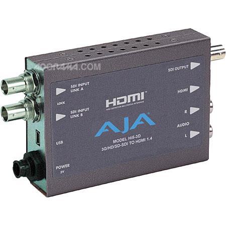 AJA Hi5 3D Mini Converter - 3G/HD-SDI Multiplexer to HDMI 1 4a and SDI  Video and Audio Converter, Includes Universal Power Supply