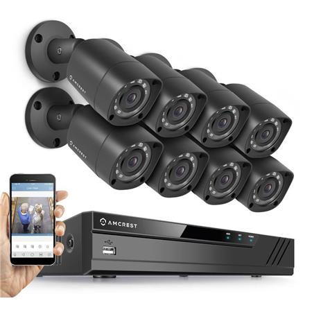 Amcrest HD 1080P 8 Channel Video Security System with DVR & 8x 2MP IP67  Outdoor Bullet Cameras