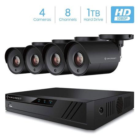 Amcrest ProHD 8-Channel 1080p Video Security DVR System with Pre-Installed  1TB Hard Drive and 4x 2MP (1920TVL) Outdoor IP67 Plastic Bullet Camera, 98'