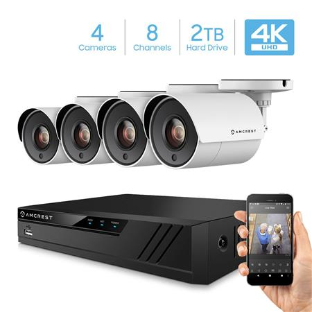 Amcrest UltraHD 4K 8-Channel Video Security System with 4x 4K (8MP) IP67  Bullet Outdoor Cameras, Pre-Installed 2TB HDD
