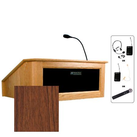 Amplivox Sw3025 Victoria Tabletop Lectern With Handheld Mic Walnut Sw3025 Wt Hh