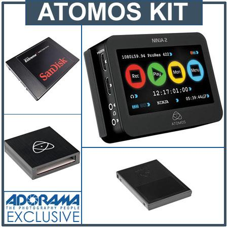 Atomos Ninja 2 Video Recorder - Bundle - with SanDisk Extreme 240GB SSD,  Atomos Master Caddy Case for HDD (5 Pack), and Atomos Firewire 800 USB 2/3