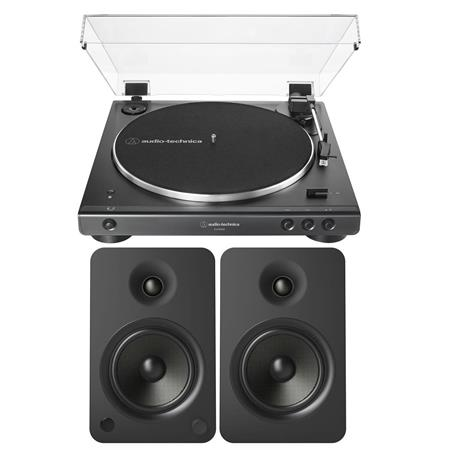 Audio-Technica AT-LP60XBT Belt-Drive Stereo Turntable Black W/Kanto YU6  Speakers