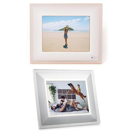 Aura Frames 97 Hr Led Digital Photo Frame Bundle Quartz Silver
