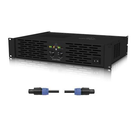 Behringer KM750 Pro 750W Stereo Power Amplifier with ATR W/25' Speakon Cable