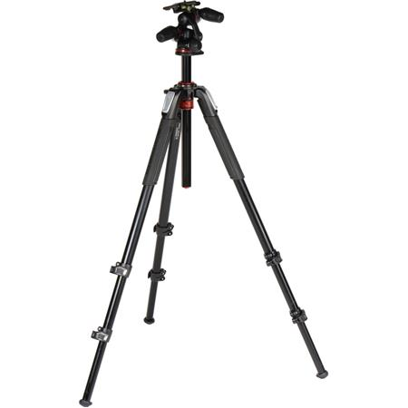 Manfrotto MK055XPRO3-3W 3-section Aluminum Tripod with QR 3-Way Pan ...