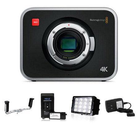 Blackmagic Production Camera 4k Ef Mount Bundle W Handles Battery Led Light Cinecamprod4kef E