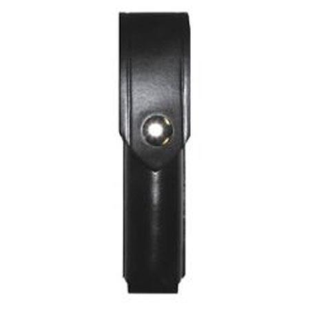 Boston Leather 5573LD-1 Closed Top Flashlight Holder Plain Black Nickel Snaps