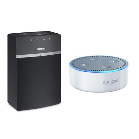 Bose SoundTouch 10 Wireless Music System with Amazon Echo Dot 2 Gen  White