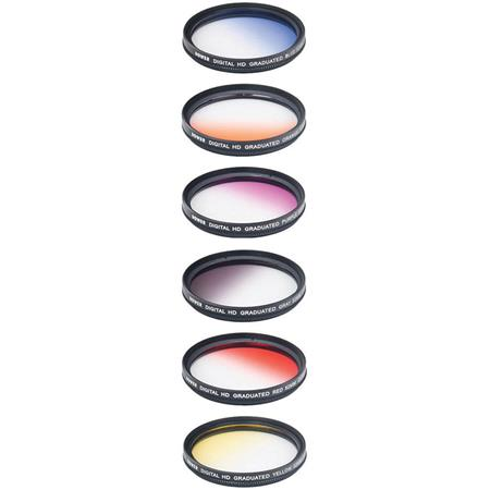 Yellow Blue Grey /& Purple Orange Vivitar 6-Piece Multi-Coated Rotating Graduated Color Filter Set 67mm Includes: Red