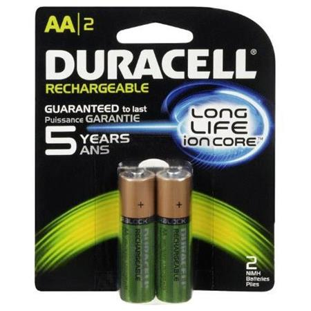 Duracell Rechargeable AA 1 2V NiMH Battery, 2 Pack
