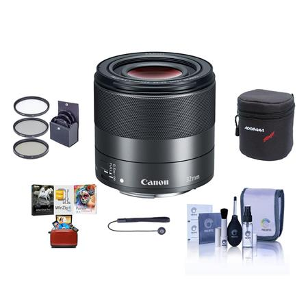 Canon EF-M 32mm f/1 4 STM Lens - Bundle With 43mm Filter Kit, Lens Case,  Cleaning Kit, Capleash II, Mac Software Package