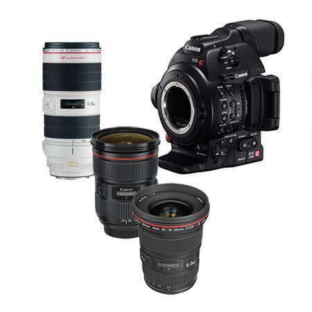 Canon EOS C100 Mark II Cinema Camcorder 3 Lens Kit with EF 16-35mm f/2 8L  II USM, EF 24-70mm f/2 8L II USM, EF 70-200mm f/2 8L II USM Lens - with  Dual