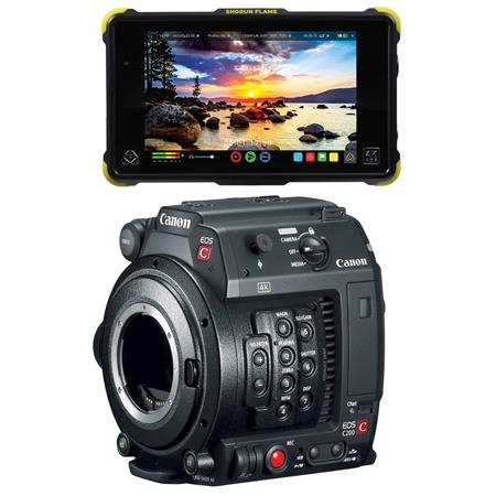 Canon EOS C200B EF Mount 4K Cinema Camcorder with Atomos Shogun Flame -  Bundle