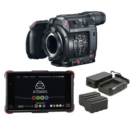 Canon EOS C200 PL Mount Camera with Atomos Ninja Flame Recorder & Power Kit
