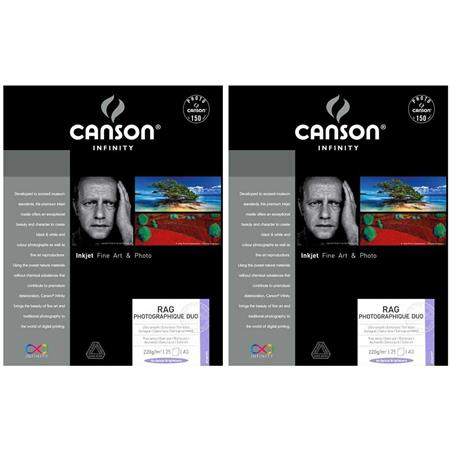 Papel fotogr/áfico A2, 25 hojas Canson infinity Rag Photographique duo 206211019 color blanco