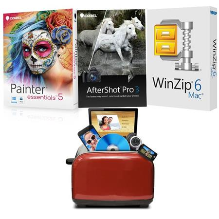 Corel Mac Photo Essentials Software Kit, Includes AfterShot Pro 3, Painter  Essentials 5, Roxio Toast Express Video Software, Winzip 6 Mac