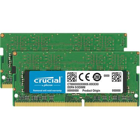 Crucial Technology 32GB (2x 16GB) 2666 MT/S 260-Pin DDR4 SDRAM SODIMM  (PC4-21300) Memory Module, CL19, Unbuffered, Dual Ranked x8, 2048M x 64,