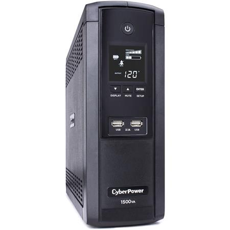 CyberPower Intelligent LCD BRG1500AVRLCD 12 Outlet 1500VA 900W Surge  Protection and Battery Backup Mini-Tower UPS System
