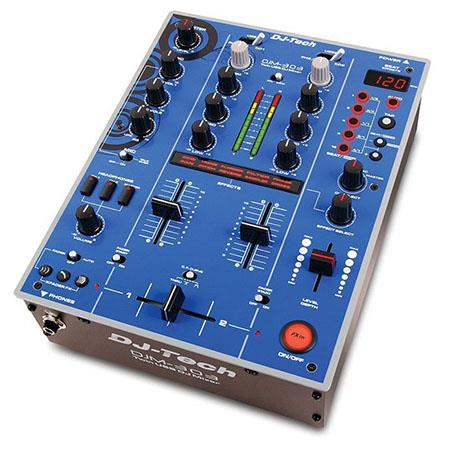 DJ Tech 2-Channel Twin USB DJ Mixer with 9 Effects BPM Synced Including  In-Loop Sampler Echo, 25Hz-20kHz Frequency Response, 82dB Noise Ratio, Blue