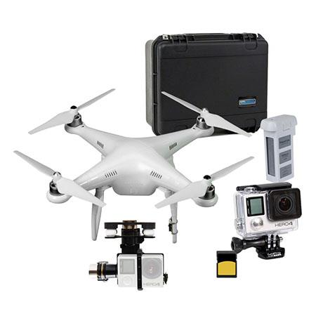 DJI Phantom 2 v2 0 Ready to Fly Multi-Rotor Quadcopter Aircraft with Remote  Controller - Bundle with GoPro HERO4 Silver Camera, Go Professional Hard