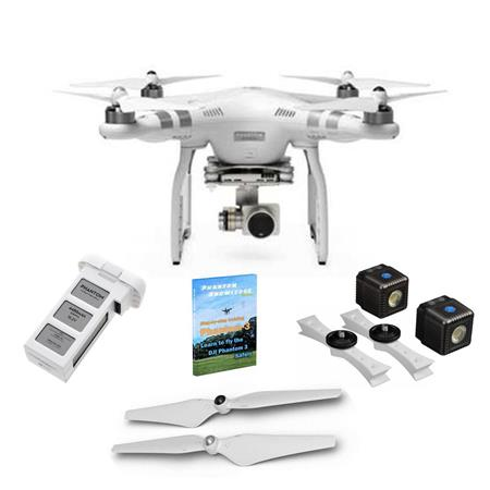 DJI Phantom 3 Advanced Quadcopter Aircraft with 2 7K Camera, 3-Axis Gimbal  - Bundle with Lume Cube Drone Lighting Kit, Additionel Battery, Spare