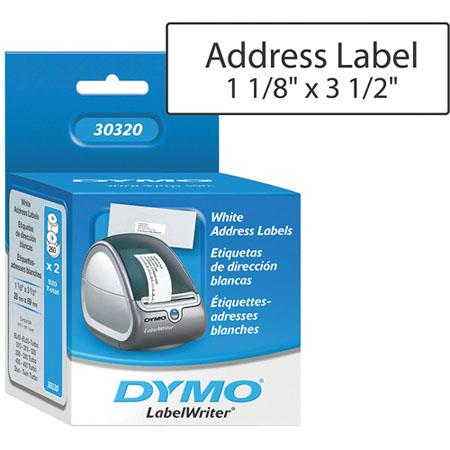 dymo white address labels 1 1 8 x 3 1 2 130 labels roll 2 rolls