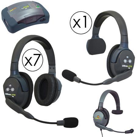 03b7f57da64 Eartec HUB917MXS HUB 9 Person Full Duplex Wireless Intercom with 1x  UltraLITE Single-Ear and 7x Double-Ear Remote Headset, 1x Plug-In Max4G  Single Headset, ...