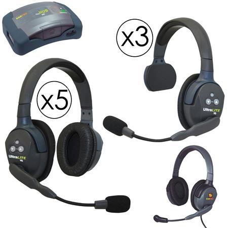 540c7623976 Eartec HUB935MXD HUB 9 Person Full Duplex Wireless Intercom with 3x  UltraLITE Single-Ear and 5x Double-Ear Remote Headset, 1x Plug-In Max4G Double  Headset, ...