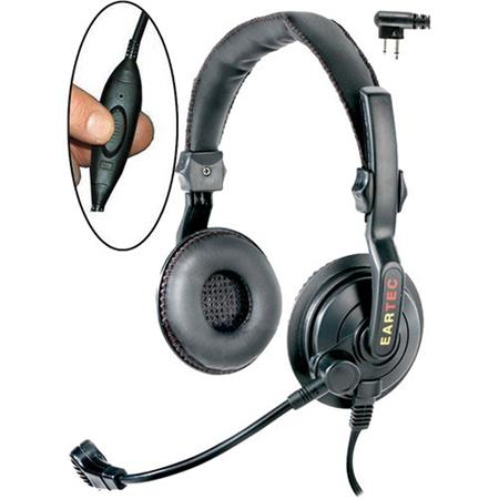 Eartec Slimline Double-Ear Mid-weight Inline PTT Headset with Mic and 2-Pin  Motorola Connector for Two-Way Radios