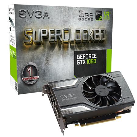 Used EVGA GeForce GTX 1060 SC 3GB Gaming Graphics Card, GDDR5, 1607MHz Base  Clock Speed, DX12 OSD Support (PXOC), ACX 2 0 Single Fan, PCI-Express 3 0