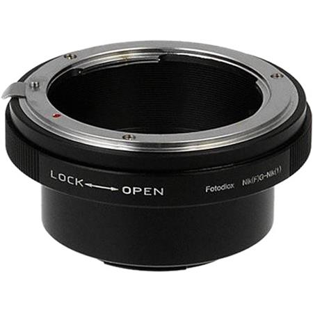 Fotodiox Lens Mount Adapter for Nikon F Mount G-Type D/SLR Lens to Nikon  1-Series Mirrorless Camera Body with Built-In Aperture Control Dial
